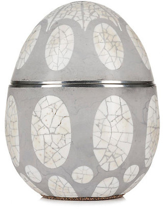 Avoova Egg Candle - Namaqua Lands - Ngala Trading Co. - vessel, gray/natural/pewter; wax, ivory