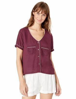 Splendid Women's Crop Short Sleeve Button Down Pajama Top