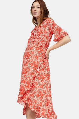 Topshop Womens **Maternity Red Floral Print Ruffle Wrap Dress - Red