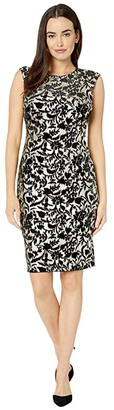 Vince Camuto Extended Cap Sleeve Bodycon Midi (Black/Gold) Women's Dress
