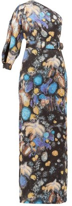 Peter Pilotto Celestial Floral-print One-shoulder Satin Gown - Womens - Black Blue
