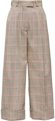 Miu Miu Plaid Cropped Wide-Leg Trousers