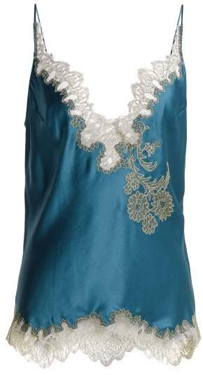 Carine Gilson Lace Trimmed Silk Satin Camisole - Womens - Blue Multi