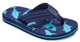 Cherokee Boys' Glen Shark Print Flip Flop Sandals - Blue