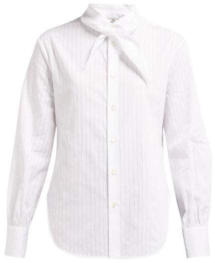 Vivienne Westwood Hals Neck Tie Pinstriped Cotton Poplin Shirt - Womens - White