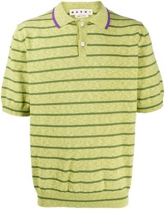 Marni Striped Slub Polo Shirt