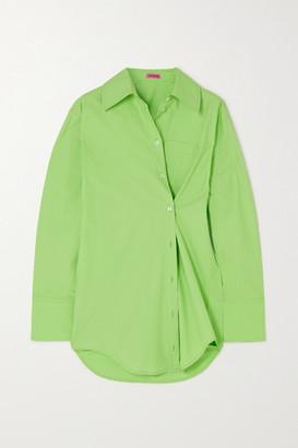 GAUGE81 Florina Asymmetric Cotton-poplin Shirt - Green