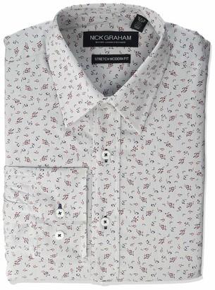 Nick Graham Men's Floral Performance Stretch Cotton Blend Dress Shirt