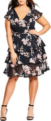 City Chic Lotus Tiered Ruffle Dress