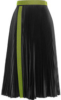 Christopher Kane Studded Pleated Satin Skirt - Black