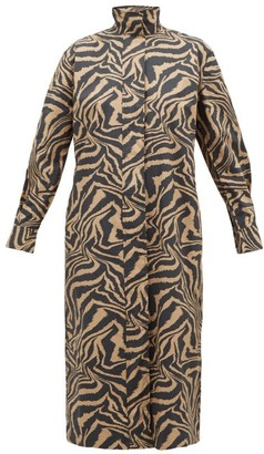 Ganni Tiger-print Cotton Shirtdress - Womens - Beige Multi