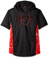 Rocawear Men's Short Sleeve Full-Over Hoody with Zipper Contrast Color Side Trim