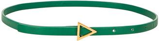Bottega Veneta Triangle Skinny Belt in Racing Green & Gold | FWRD