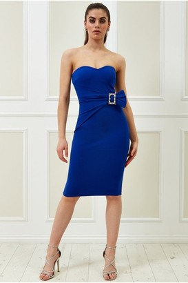 Goddiva Vicky Pattison Royal Blue Buckle Bandeau Midi Dress