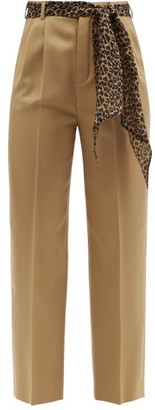 Saint Laurent Belted Wool-twill Straight-leg Trousers - Beige