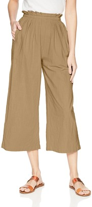 Moon River Women's Paperbag Waist Casual Wide Leg Cropped Pants