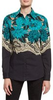 Etro Floral Long-Sleeve Blouse, Turquoise
