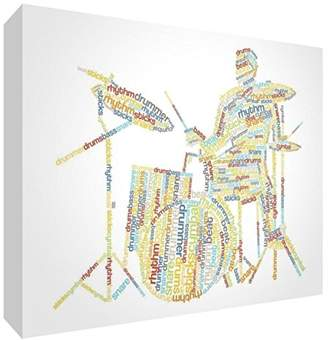 Camilla And Marc Feel Good Art Premium Gallery-Wrapped Box Canvas with Solid Front Panel in Unique Typographic Male Drummer Design, Multi-Colour, Medium, 40 x 20 x 3 cm