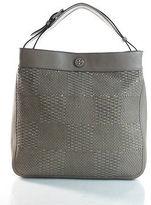 Tory Burch Gray Leather Magnet Closure 3 Pocket Shoulder Handbag Large