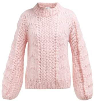 Ganni Julliard Mohair And Wool Blend Sweater - Womens - Pink
