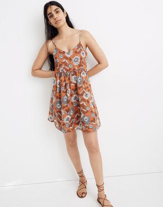 Madewell Ruffle-Waist Babydoll Cami Dress in Gathered Blooms