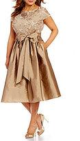 Adrianna Papell Plus Short Sleeve Sequined Lace Taffeta Dress