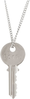 "The Giving Keys Silvertone 'FAITH' Key PEndant with 30"" Curb Chain"