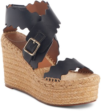 Chloé Lauren Scalloped Wedge Platform Sandal