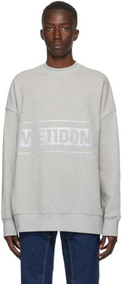 we11done Grey Reflective Logo Sweatshirt