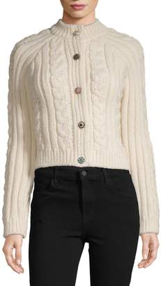 Ganni Cable-Knit Wool-Blend Sweater