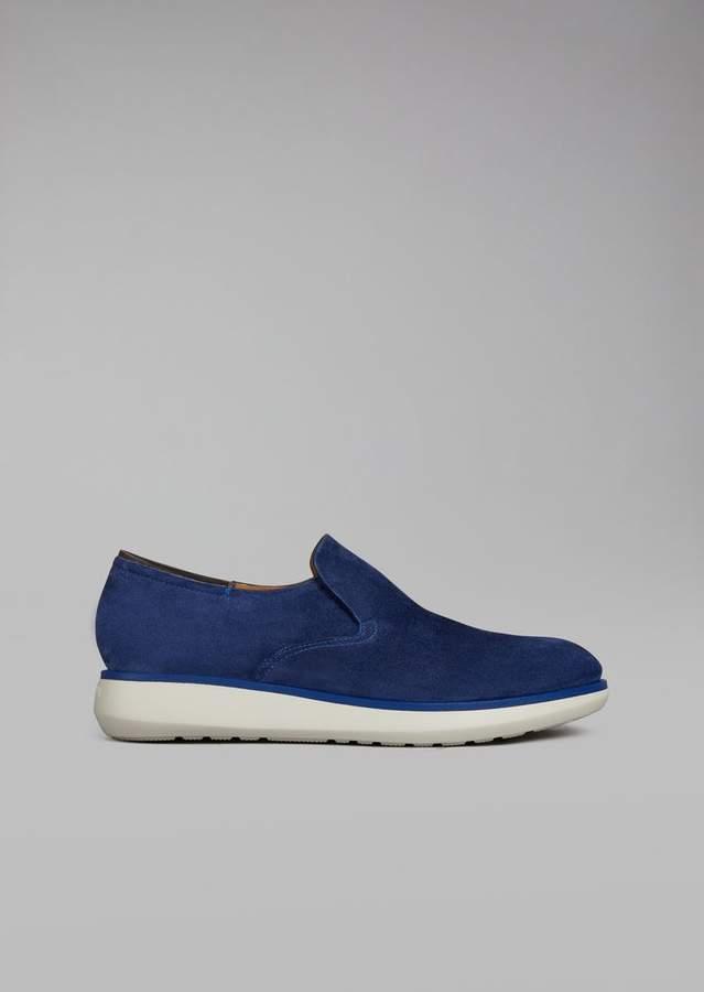 Giorgio Armani Suede Leather Slip-Ons