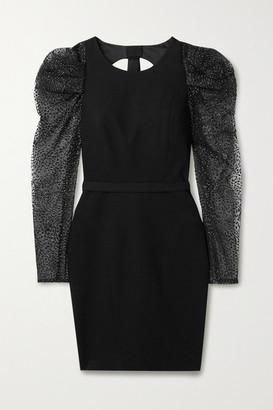 HANEY Fiona Cutout Glittered Flocked Tulle And Crepe Mini Dress - Black