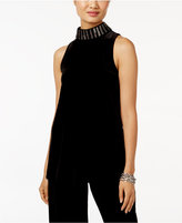Alfani Velvet Embellished Mock-Neck Top, Only at Macy's