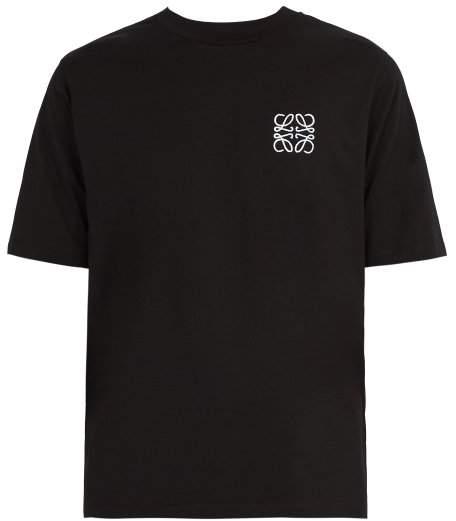 Loewe Logo Embroidered Cotton T Shirt - Mens - Black