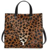 Clare Vivier 'Petit Simple' Leopard Print Genuine Calf Hair Tote - Brown