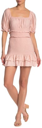 Do & Be Smocked Puff Sleeve Mini Dress
