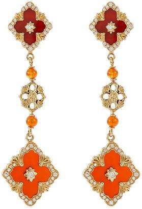 Buccellati 'Opera Color' Carnelian stone yellow gold link drop earrings