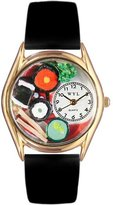 Whimsical Watches Women's C0310012 Classic Gold Sushi Black Leather And Goldtone Watch