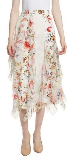 Alice + Olivia Yula Floral Silk & Lace Midi Skirt