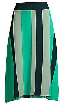 BOSS Women's Faeve Colorblock Vertical Stripe Knit A-line Skirt