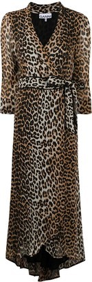 Ganni leopard-print V-neck dress