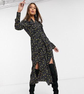 Topshop Tall shirt dress in black spot print