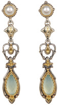 Konstantino Sterling Silver & 18K Gold 5m Pearl Stud & Faceted Agate Dangle Earrings