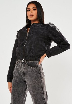 Missguided Black Organza Bomber Jacket