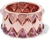 Tory Burch Puzzle Set Of Three Rose Gold-Tone, Quartz And Amethyst Rings