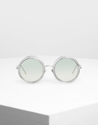 Charles & Keith Cutout Frame Round Sunglasses