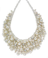 Charter Club Silver-Tone Glass Pearl Cluster Bib Necklace