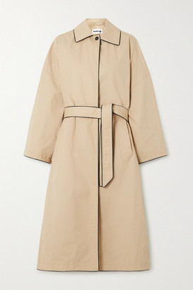 Balenciaga Faux Leather-trimmed Cotton-gabardine Trench Coat - Beige