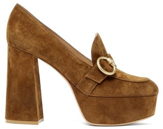 Gianvito Rossi Louise Suede Platform Loafers - Womens - Dark Brown