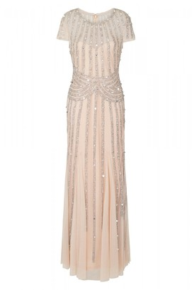 Frock and Frill Helma Blush and Silver Stripe Embellished Maxi Dress